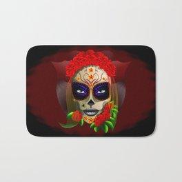 Skull Girl Dia de los Muertos Portrait Bath Mat