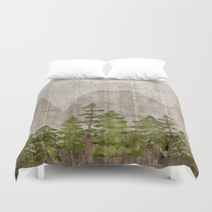 Mountain Range Woodland Forest Bettbezug