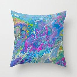 Acrylic Pour - Rainbow Paddle Pop Throw Pillow