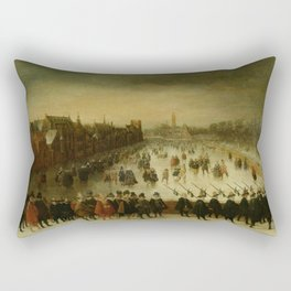 Adam van Breen - The Vijverberg, The Hague, in Winter, with Prince Maurits and his Retinue in the Fo Rectangular Pillow
