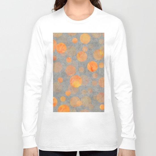 Fancy orange Dot Pattern on grey Long Sleeve T-shirt