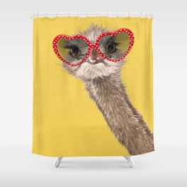 Fashion Hipster Ostrich in Yellow Shower Curtain