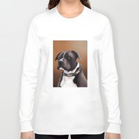 bull terrier Long Sleeve T-shirts featuring Staffordshire bull terrier 2 by Carl Conway