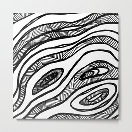 Organic Black & White lines Metal Print