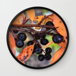 Choke Berries in Autumn Wall Clock