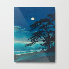 Vintage Japanese Woodblock Print Moonlight Over Ocean Japanese Landscape Tall Tree Silhouette Metal Print