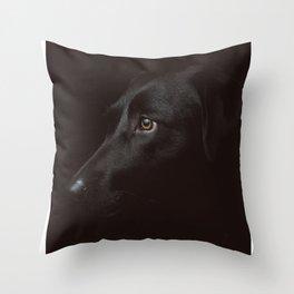 Black dog Poster Throw Pillow