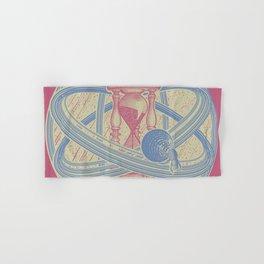 Time Infinity System. Orbit, sandglass, scarab, cicada, mantis. Engraving illustration. Part 1. Hand & Bath Towel