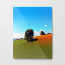 Trees, a hidden farm and fields of summer Metal Print