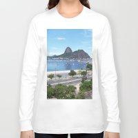 rio de janeiro Long Sleeve T-shirts featuring Rio de Janeiro Landscape by Fernando Macedo
