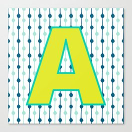 Letter A Monogram Blue, Green and Yellow with Pattern Canvas Print