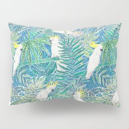 cockatoos playing around in a tropical garden watercolor Pillow Sham