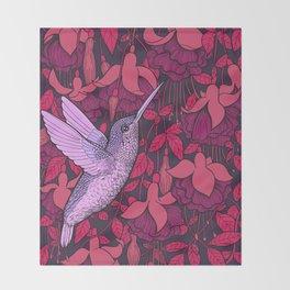 Hummingbird and fuchsia Throw Blanket