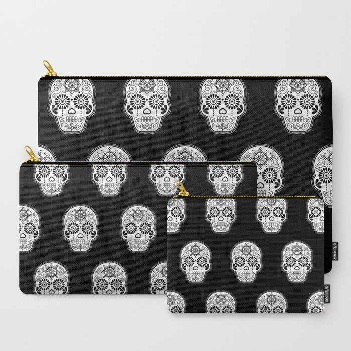 Dia_de_Muertos_Calavera_*_Mexican_Sugar_Skull__White_on_Black_Palette_CarryAll_Pouch_by_Cat_Coquillette__Set_of_3