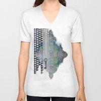 cross V-neck T-shirts featuring Cross by oxana zaika