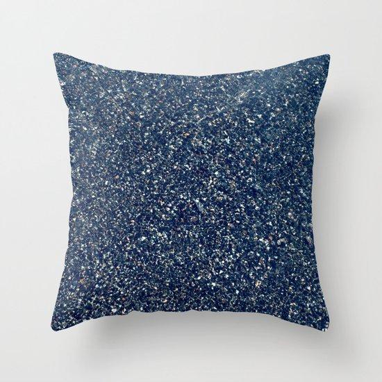 Black Sand II (Blue) Throw Pillow