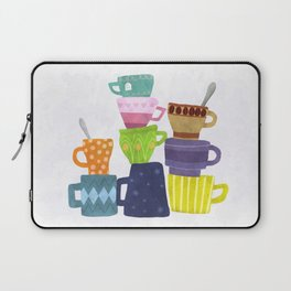 Coffee And Tea Cups And Mugs Stacked High Laptop Sleeve