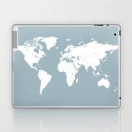 Minimalist World Map in Slate Blue Laptop & iPad Skin