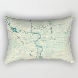Columbus Map Blue Vintage Rectangular Pillow