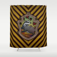 hufflepuff Shower Curtains featuring Hogwarts House Crest - Hufflepuff by Teo Hoble