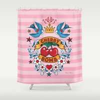 rockabilly Shower Curtains featuring Rockabilly Style No.2 by nice illus