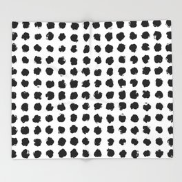 Black and White Minimal Minimalistic Polka Dots Brush Strokes Painting Throw Blanket