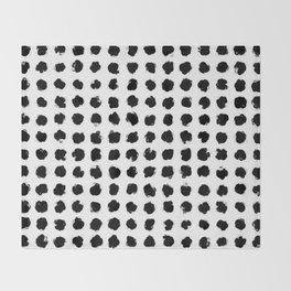Black and White Minimal Minimalistic Polka Dots Brush Strokes Painting Throw Blanket