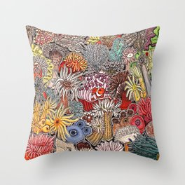 Clown fish and Sea anemones Throw Pillow