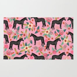 black beauty, mare, horse, horses, floral, florals, black horse, horse bedding, horse decor, cowgirl Rug