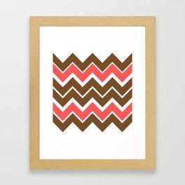 Big Chevron:  Chocolate Brown + Coral Framed Art Print