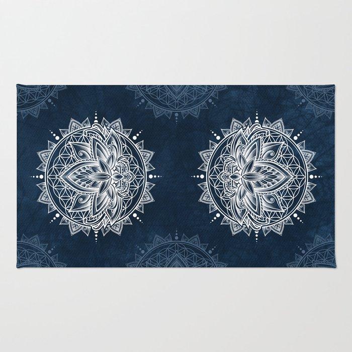 Lotus Mandala (white) Rug