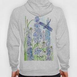Watercolor Wildflower Garden Dragonfly Blue Flowers Daisies Hoody