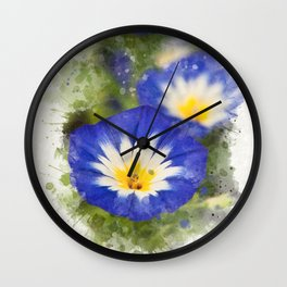 Watercolor Morning Glories Wall Clock