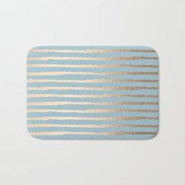 Abstract Stripes Gold Tropical Ocean Sea Blue Bath Mat