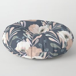 Anemones & Olives blue Floor Pillow