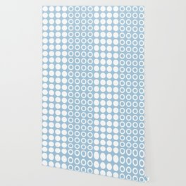 Mid Century Modern Circles And Dots Pale Blue 2 Wallpaper