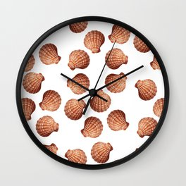 White big Clam pattern Illustration design Wall Clock