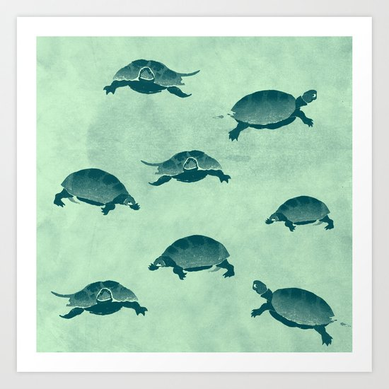 Down with the turtles Art Print