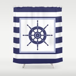 AFE Nautical Navy Helm Wheel Shower Curtain