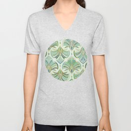 Jade Enamel Art Deco Fans Unisex V-Neck