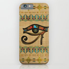 Egyptian Eye of Horus Ornament on papyrus iPhone Case