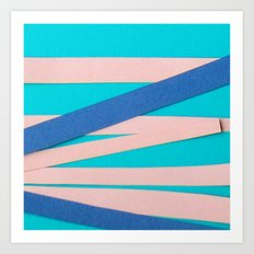 Pink & Blue Stripes on Turquois Art Print