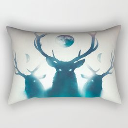 Deer Painting | Antlers | Forest | Moon | Occult | Vintage | Pine Trees Rectangular Pillow