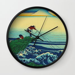 Vintage Japanese Art - Man Fishing Wall Clock