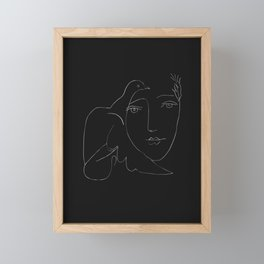 Picasso Line Art - Dove and Woman Framed Mini Art Print
