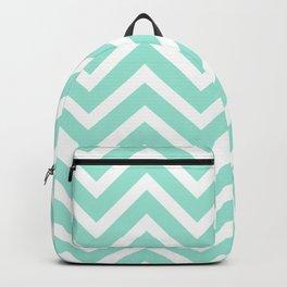 Chevron Stripes : Seafoam Green & White Backpack