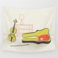violin Wall Tapestries featuring Cat & Violin by Jenny Tiffany