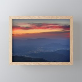 Red sunset from the mountains. Framed Mini Art Print