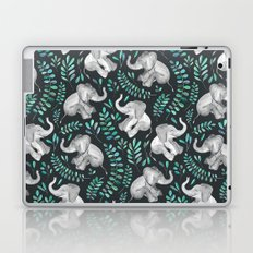Laughing Baby Elephants – emerald and turquoise Laptop & iPad Skin