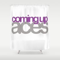 asexual Shower Curtains featuring coming up aces by Brizy Eckert